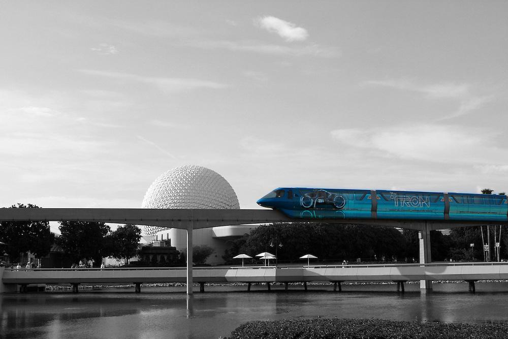 The Tron monorail circumnavigates Epcot's Future World at Walt Disney World.