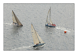 Sailing - The 2007 Bell Lawrie Scottish Series hosted by the Clyde Cruising Club, Tarbert, Loch Fyne..Brilliant first days conditions for racing across the three fleets...Class 2 windward mark, GBR2 Lafayette, IRL789 Rosie and IRL3008 Blondie.