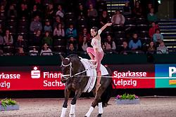 BOE Kristina (GER), Don de la Mar<br /> Leipzig - Partner Pferd 2019<br /> FEI Vaulting World Cup<br /> Damen / Female<br /> 18. Januar 2019<br /> © www.sportfotos-lafrentz.de/Stefan Lafrentz
