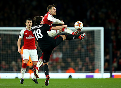 Aaron Ramsey of Arsenal challenges Riccardo Montolivo of AC Milan - Mandatory by-line: Robbie Stephenson/JMP - 15/03/2018 - FOOTBALL - Emirates Stadium - London, England - Arsenal v AC Milan - UEFA Europa League Round of 16, Second leg