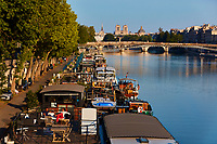 Paris , France - April 26 , 2020 :  La seine river waterfront during lock down coronavirus covid-19 quarantine