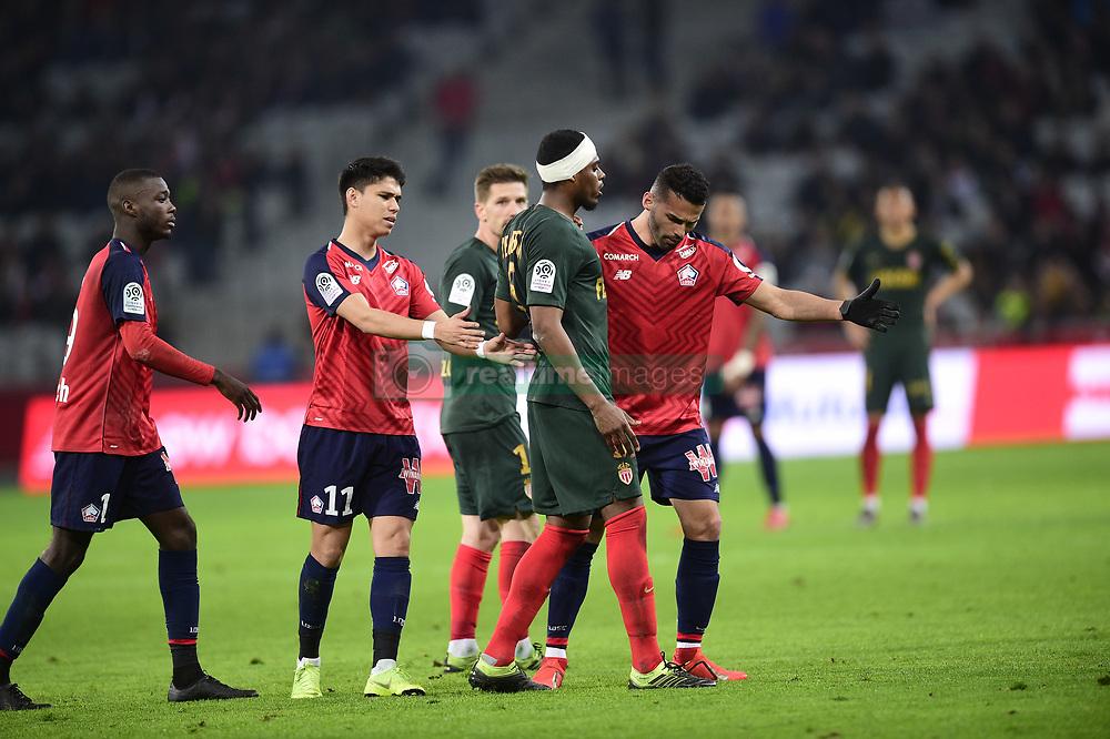 March 15, 2019 - Lille, France, FRANCE - blessure de JEMERSON (Monaco) raccompagne par Luiz Araujo  (Credit Image: © Panoramic via ZUMA Press)