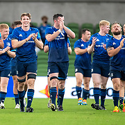 DUBLIN, IRELAND:  September 25:  The Leinster team  salute the fans after their victory during during the Leinster V Bulls, United Rugby Championship match at Aviva Stadium on September 25th, 2021 in Dublin, Ireland. (Photo by Tim Clayton/Corbis via Getty Images)