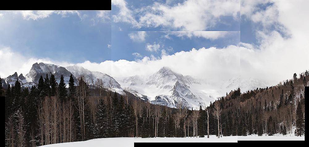 Stormy winter view of the Sneffels Range, San Juan Mountains, Colorado.