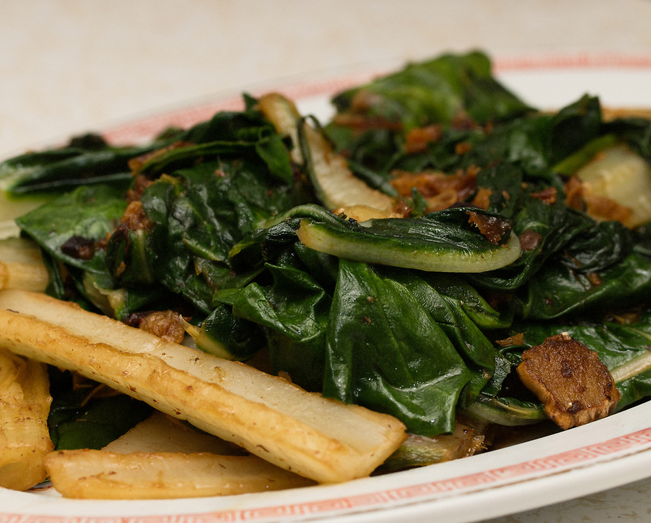 Fried Dace with Black Bean Sauce and Swiss Chard. Fried Dace is Cantonese in origin.