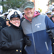 "NEW YORK -- USS Hué City (CG 66) Command Master Chief Teri Zehnacker of Decatur, Ill. poses with Jim Wagner of Chicago, a Marine who served at the Battle of Hué City, for which the ship is named, before the 2017 Veterans Day parade.  The ship is in port participating in Veterans Week New York City 2017 to honor the service of all our nation's veterans. <br /> Wagner joined the ship's crew for a short ""tiger"" cruise from Florida to New York this week. <br />  #USNavy, #NavyInNYC, #VeteransDay, #USNavy, #VeteransDay #NeverForget (U.S. Navy photo by Chief Mass Communication Specialist Roger S. Duncan/ Released)"