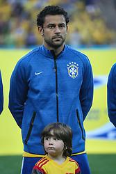 Fred canta hino nacional na partida entre Brasil x Croácia, na abertura da Copa do Mundo 2014, no Estádio Arena Corinthians, em São Paulo. FOTO: Jefferson Bernardes/ Agência Preview