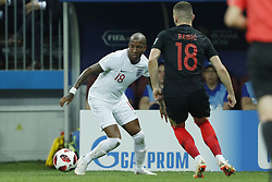 (l-r) Ashley Young of England, Ante Rebic of Croatia during the 2018 FIFA World Cup Russia Semi Final match between Croatia and England at the Luzhniki Stadium on July 01, 2018 in Moscow, Russia