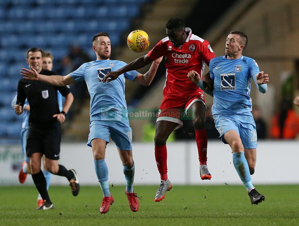 Coventry City's Marc McNulty, Jordan Shipley and Crawley Town's Enzio Boldewijn