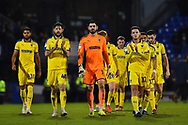 The Wimbledon players walk to the travelling fans to applaud them at full time after a 2-1 loss to Portsmouth during the EFL Sky Bet League 1 match between Portsmouth and AFC Wimbledon at Fratton Park, Portsmouth, England on 1 January 2019.
