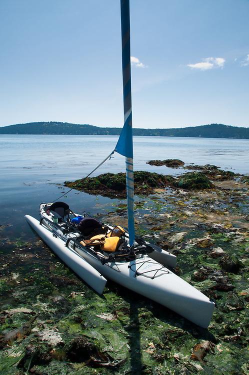 Hobie Sailing Kayak Beached at Yellow Island, San Juan Islands, Washington, US