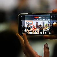 12.03.2020, Albert-Park, Melbourne, FORMULA 1 ROLEX AUSTRALIAN GRAND PRIX 2020<br /> , im Bild<br />FIA Pressekonferenz mit Nicholas Latifi (CAN#6), Rokit Williams Racing, Sebastian Vettel (GER#5), Scuderia Ferrari Mission Winnow, Lewis Hamilton (GB#44), Mercedes-AMG Petronas Motorsport, Daniel Ricciardo (AUS#3), Renault DP World F1 Team<br /> <br /> Foto © nordphoto / Bratic