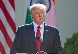 United States President Donald J. Trump delivers a joint statement with Prime Minister Narendra Modi of India in the Rose Garden of the White House in Washington, DC, USA, on Monday, June 26, 2017. Photo by Ron Sachs/CNP/ABACAPRESS.COM