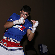 Jean Carlos Rivera warms up during the Top Rank boxing event at Osceola Heritage Park in Kissimmee, Florida on September 22, 2016