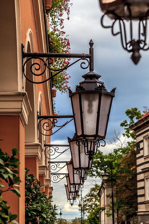 Lanterns in New Town in Warsaw, Poland.