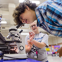 E.J. Turk looks at cell samples in a microscope while Taylor Walker explains the different cells during the Science Technology Engineering Arts and Mathematics Forum at Stagecoach Elementary School in Gallup Saturday.