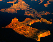 The Grand Canyon viewed from just east of Yaki Point on the South Rim, the Kaibab Trail can be seen winding around O'Neill Butte, Grand Canyon National Park, Arizona.