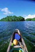 Outrigger Canoe, Utwa-Walung Marine Park, Kosrae, Federated States of Micronesia, Micronesia<br />