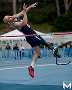 Paralympian high jumper Sam Grewe in action at the 2019 Angel City Games in Los Angeles.