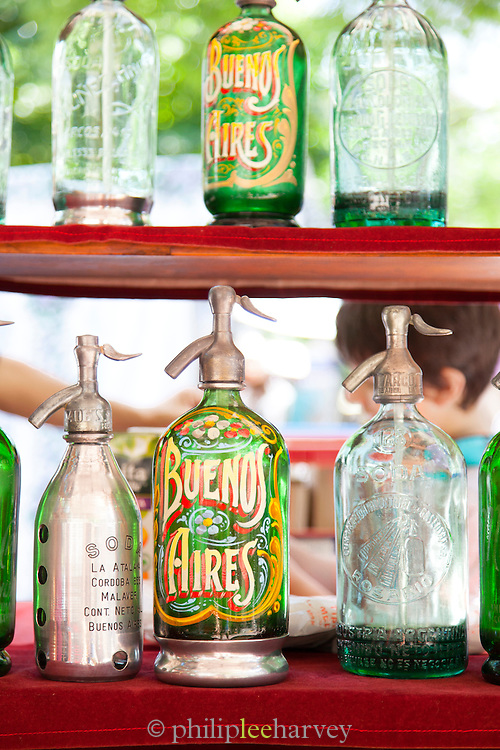 Bottles at a market in San Telmo District, Buenos Aires, Argentina, South America
