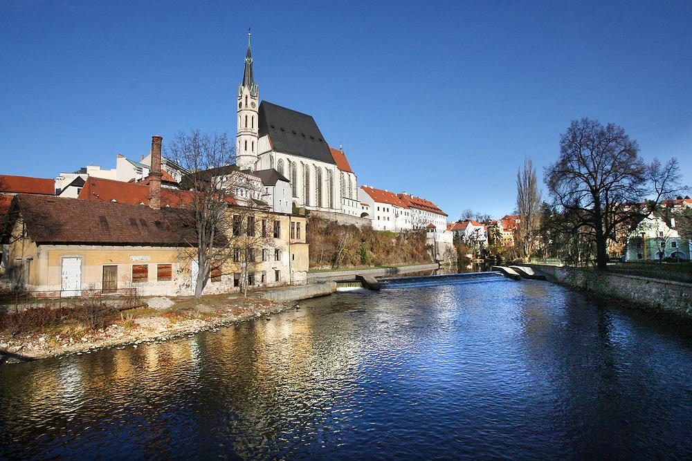 St. Vitus Church on the River Vitava in Cesky Krumlov, Czech Republic