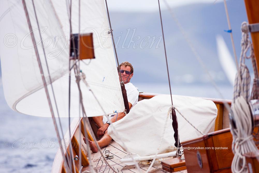 Mariella sailing in the 2010 Antigua Classic Yacht Regatta, Old Road Race, day 1.