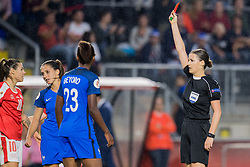 Eve Perisset of France women geta a red card during the UEFA WEURO 2017 Group C group stage match between Switzerland and France at the Rat Verlegh stadium on July 26, 2017 in Breda, The Netherlands