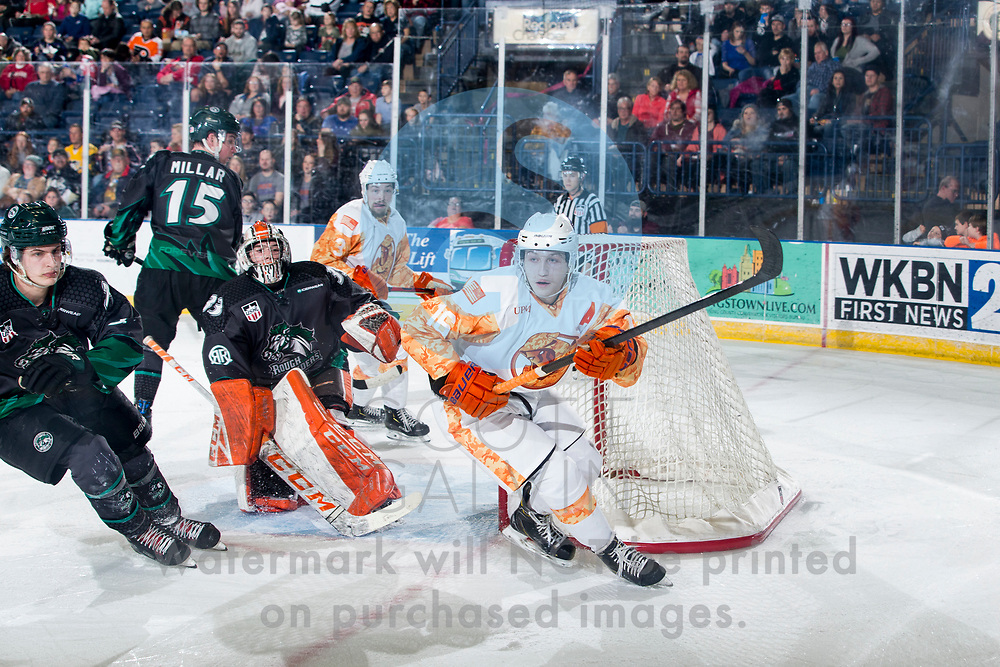 The Youngstown Phantoms defeat the Cedar Rapids RoughRiders 3-1 at the Covelli Centre on March 7, 2020.<br /> <br /> Trevor Kuntar, forward, 16