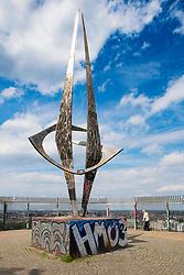 Sculpture at former Second World War Flak tower at Gesundbrunnen Park in Berlin, Germany
