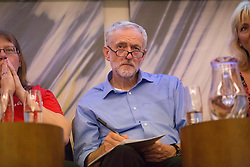© Licensed to London News Pictures. 25/08/2015. Southampton, UK.  Jeremy Corbyn answers a Q&A at a rally held in the Hilton at the Ageas Bowl in Southampton after rumours for a Labour split.