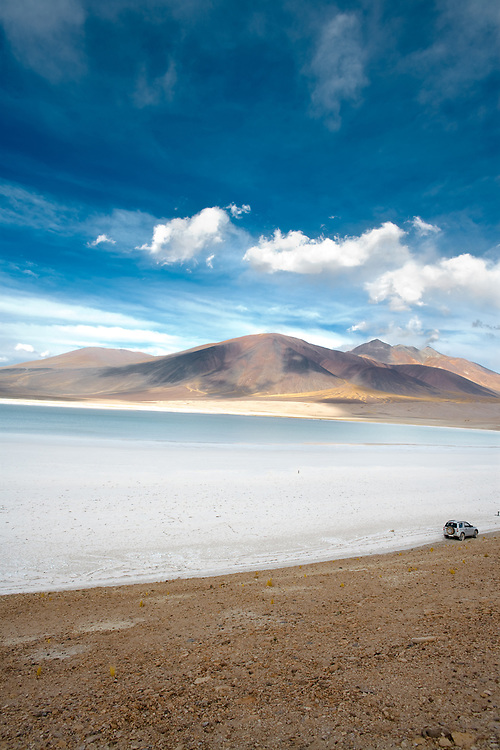 Tuyajto Lagoon and salt lake, Altiplano (high Andean Plateau), Atacama desert, Antofagasta Region, Chile, South America