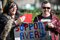 © Licensed to London News Pictures. 02/04/2016. London, UK. Protesters rally in front of the US Embassy in London to call for the release of Steven Avery and Brendan Dassey, both jailed in connection with the 2005 murder of Teresa Halbach in Wisconsin, USA. The case was brought to prominence by the hit Netflix series 'Making a Murderer', which suggests the possibility of foul play in the arrest and convictions of the two men. Photo credit : Rob Pinney/LNP