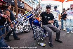 Custom bike builder Hawke Lawshe of Vintage Technologies in Montana with his best of show Harley-Davidson Shovelhead at the Rats Hole annual custom bike show in the Crossroads area of the Buffalo Chip during the Sturgis Black Hills Motorcycle Rally. SD, USA. Thursday, August 8, 2019. Photography ©2019 Michael Lichter.
