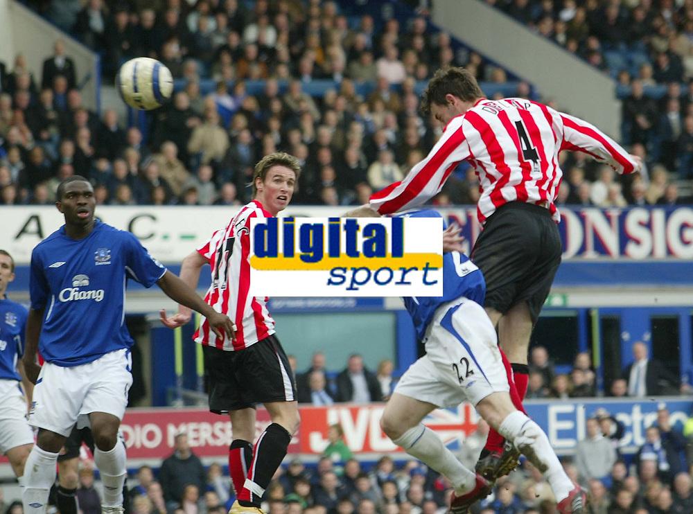 Photo: Aidan Ellis.<br /> Everton v Sunderland. The Barclays Premiership. 01/04/2006.<br /> Sunderland's Rory Delap heads in the equalising goal