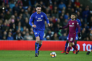 Sean Morrison of Cardiff city in action.The Emirates FA Cup, 4th round match, Cardiff city v Manchester City at the Cardiff City Stadium in Cardiff, South Wales on Sunday 28th January 2018.<br /> pic by Andrew Orchard, Andrew Orchard sports photography.