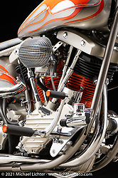 Donnie Smith's HD FL, with a Pan lower, and shovel top. Photographed by Michael Lichter in Sturgis, SD. August 6, 2021. ©2021 Michael Lichter
