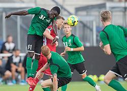 Joshua Amortey (Næstved Boldklub) og Teddy Bergqvist (FC Helsingør) under træningskampen mellem FC Helsingør og Næstved Boldklub den 19. august 2020 på Helsingør Stadion (Foto: Claus Birch).