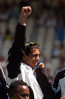28/08/04 - ATHENS - GREECE -  - OLYMPIC FOOTBALL - FINAL MATCH - MENS  -  <br />ARGENTINA (1) Vs. PARAGUAY (0) At the Olympic Stadium in Athens. Argentine win the goal medal<br />Argentine players celebration. Here CARLOS TEVEZ with the gold medal.<br />© Gabriel Piko / Argenpress.com / Piko-Press