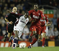 Photo Aidan Ellis.<br /> Liverpool v Middlesbrough<br /> Carling Cup 4th rd.<br /> 10/11/2004.<br /> Liverpool's Salif Diao and Boro's Joseph Deserie Job