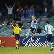 Steve Corica celebrates his match winning goal during the Sydney FC V Adelaide United A-League match at the Sydney Football Stadium, Sydney, Australia, 27 December 2009. Photo Tim Clayton
