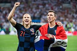 July 11, 2018 - Moscow, Russia - 180711 Domagoj Vida and Mario Mandzukic of Croatia celebrate after winning the FIFA World Cup semi final match between Croatia and England on July 11, 2018 in Moscow..Photo: Petter Arvidson / BILDBYRÃ…N / kod PA / 92085 (Credit Image: © Petter Arvidson/Bildbyran via ZUMA Press)