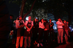 June 17, 2017 - Bogota, Colombia - People gather outside the Andino shopping mall after a blast, in Bogota. A homemade bomb placed in a women's bathroom rocked one of the busiest shopping centers in Colombia's capital Saturday, killing three people, including a French woman, and wounding 11 others. (Credit Image: © [E]Colprensa/Xinhua via ZUMA Wire)