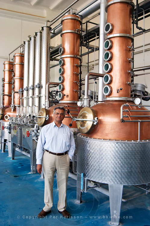 Still for distilling Ouzo. George Tsantalis. Tsantali Vineyards & Winery, Halkidiki, Macedonia, Greece.