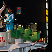 2014 Japanese PM, Shinzo Abe electioneering.