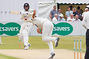 Matt Taylor hits Chris Wright for 4 during the Specsavers County Champ Div 2 match between Gloucestershire County Cricket Club and Leicestershire County Cricket Club at the Cheltenham College Ground, Cheltenham, United Kingdom on 17 July 2019.
