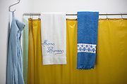 Bath towels on the shower curtain in the rectory home of martyred Archbishop Oscar Romero. Romero's home has been made into a museum of the life and death of the Salvadoran priest. El Salvador prepares for the beatification ceremony and mass announcing the beatification of Archbishop Oscar Romero. The Archbishop was slain at the alter of his Church of the Divine Providence by a right wing gunman in 1980. Oscar Arnulfo Romero y Galdamez became the fourth Archbishop of San Salvador, succeeding Luis Chavez, and spoke out against poverty, social injustice, assassinations and torture. Romero was assassinated while offering Mass on March 24, 1980.