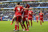 Middlesbrough FC midfielder Albert Adomah celebrates his goal during the Sky Bet Championship match between Brighton and Hove Albion and Middlesbrough at the American Express Community Stadium, Brighton and Hove, England on 19 December 2015. Photo by Phil Duncan.