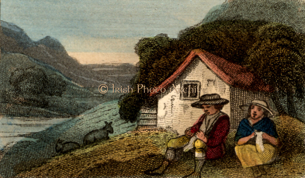 Cottagers in North Wales knitting.  All the family, male and female, would spend as much time as possible knitting stockings from the wool of local sheep. The stockings would be sold at the town of Bala, Snowdonia, Wales.  From 'Scenes in England' by the Rev. Isaac Taylor, London, 1822. Hand-coloured engraving.