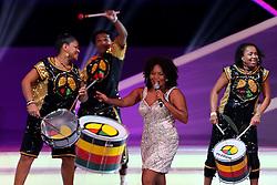 Margareth Menezes e o grupo Olodum durante a cerimônia do sorteio dos grupos da Copa do Mundo de 2014, na Costa do Sauípe, Bahia. FOTO: Jefferson Bernardes/ Agência Preview