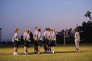 A Drill Sergeant instructor yells commands to Drill Sergeant candidates at the US Army Drill Instructors School Fort Jackson during early morning formation September 27, 2013 in Columbia, SC. While 14 percent of the Army is women soldiers there is a shortage of female Drill Sergeants.